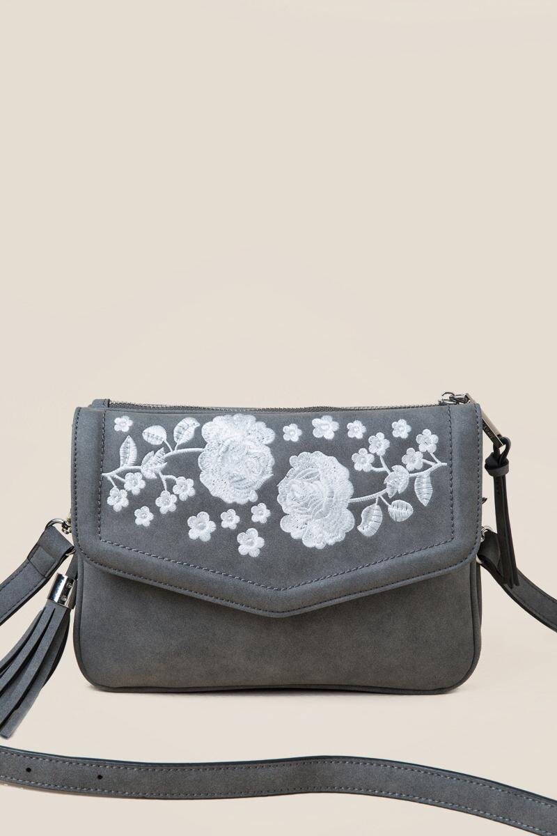 Emma Floral Crossbody-  gray-cl