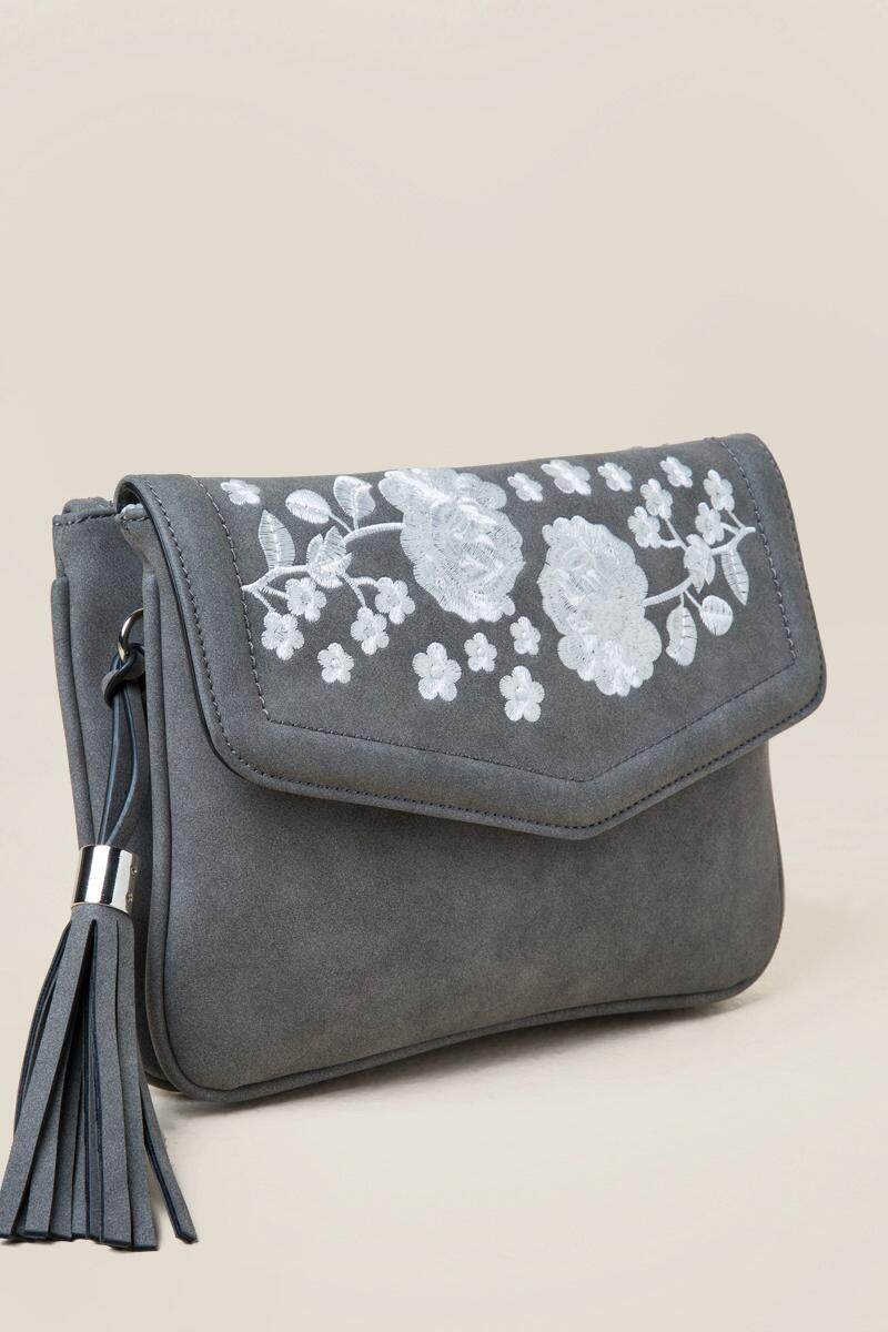 Emma Floral Crossbody-  gray-clside