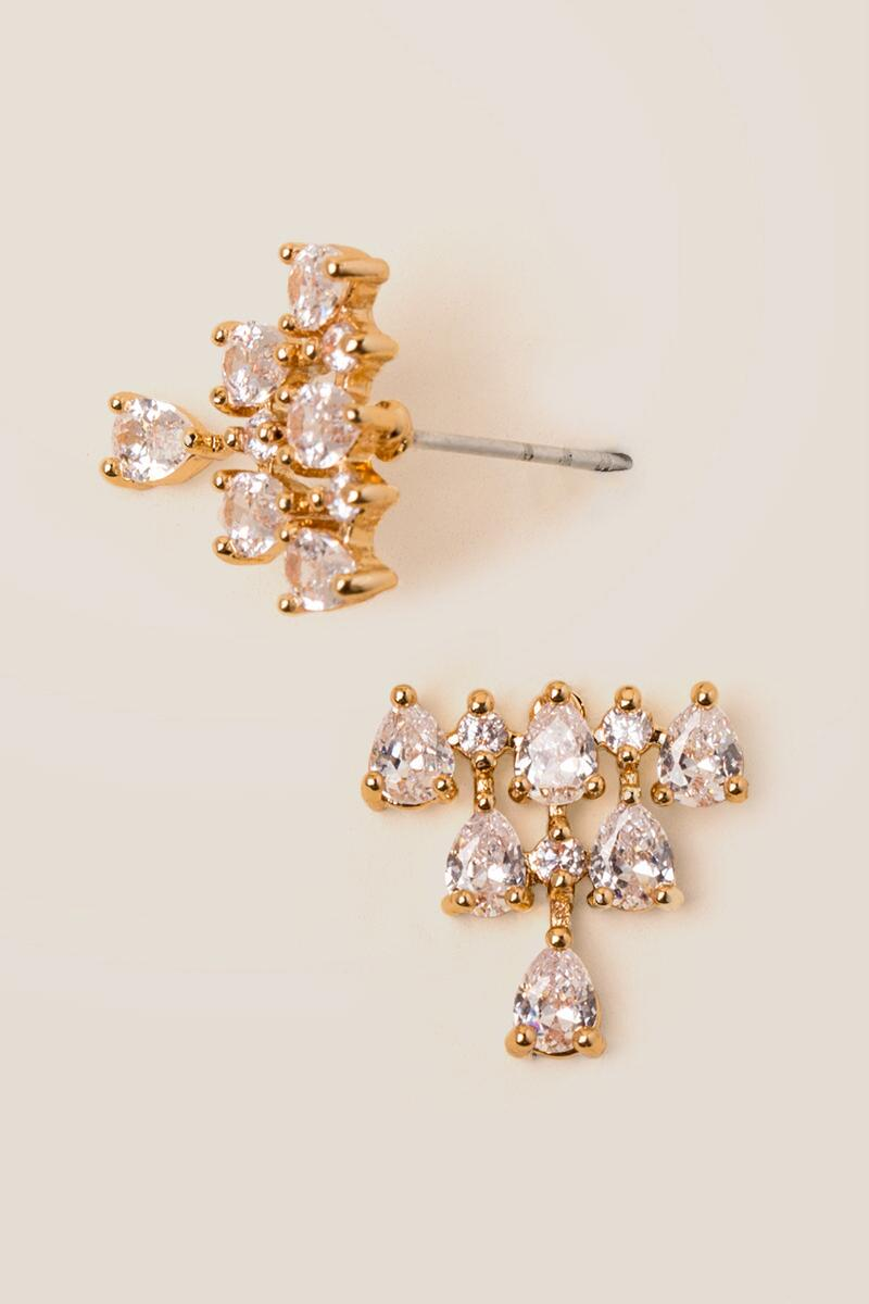 Abrielle Stacked Crystal Studs-  cry-cl