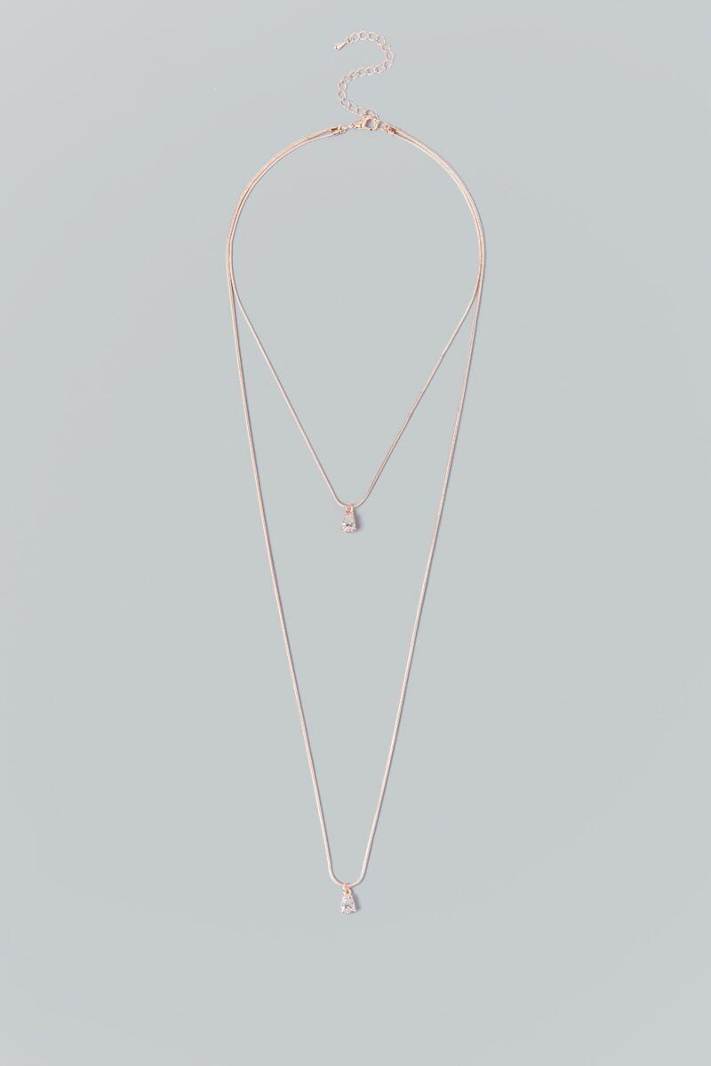 Alivia Rose Gold Layered Crystal Necklace