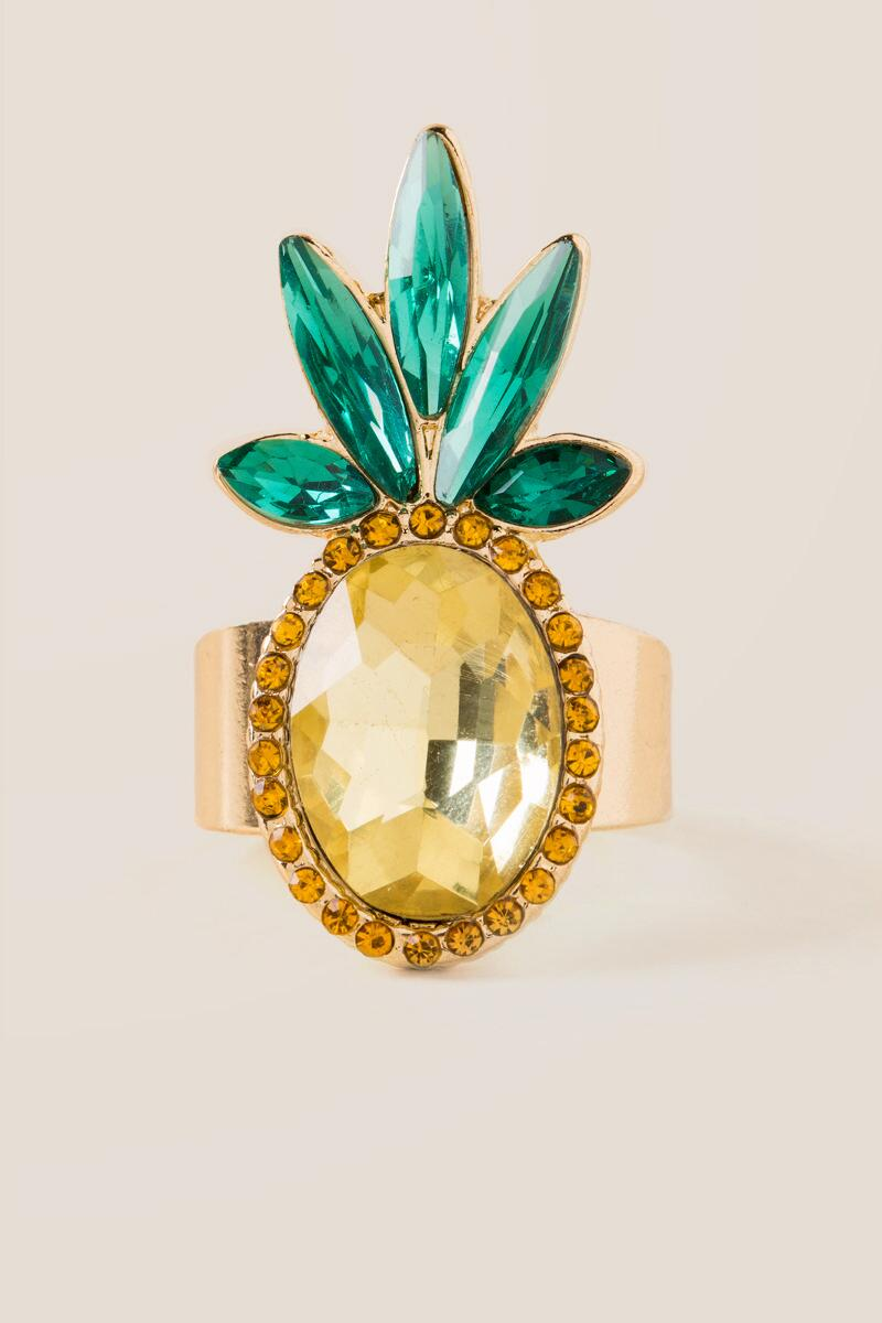 Faceted Glass Pineapple Ring-  yllw-cl