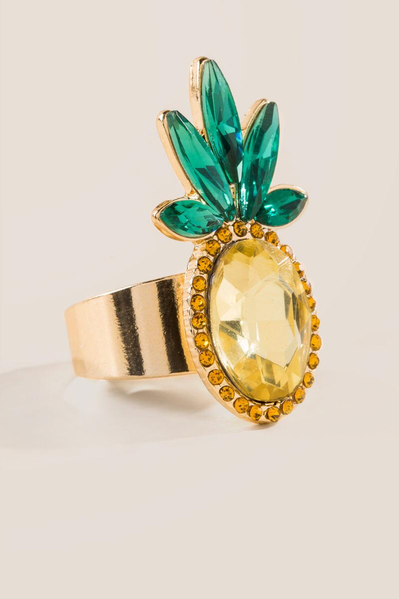 Faceted Glass Pineapple Ring-  yllw-clalternate