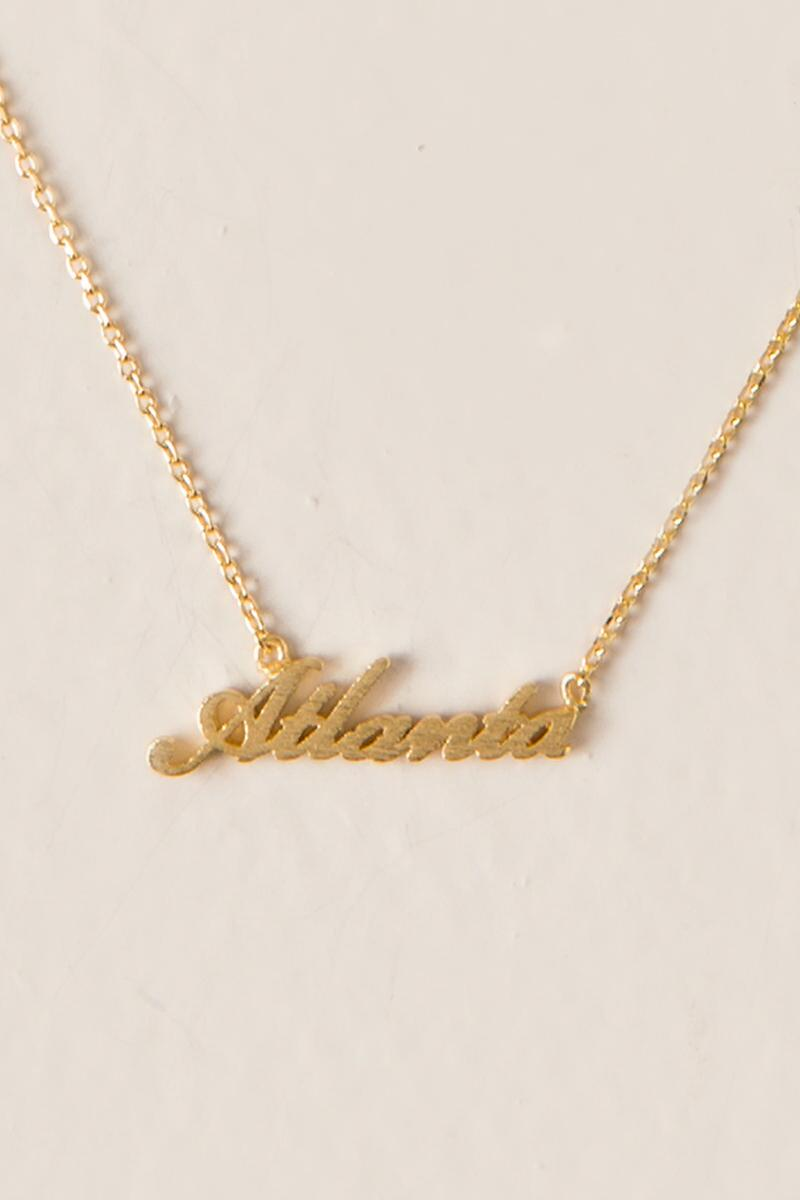 Atlanta Script Pendant Necklace-  gold-cl