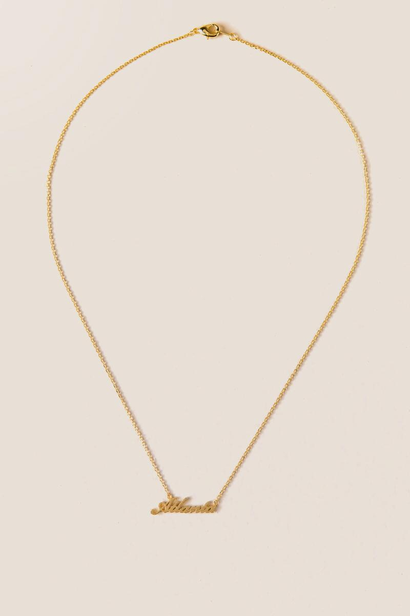 Atlanta Script Pendant Necklace-  gold-clalternate