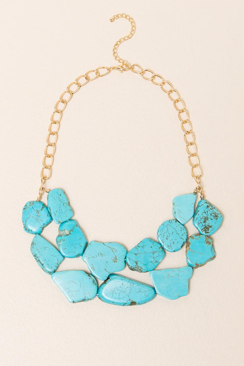 Mandi Turquoise Stone Statement Necklace-  turq-cl