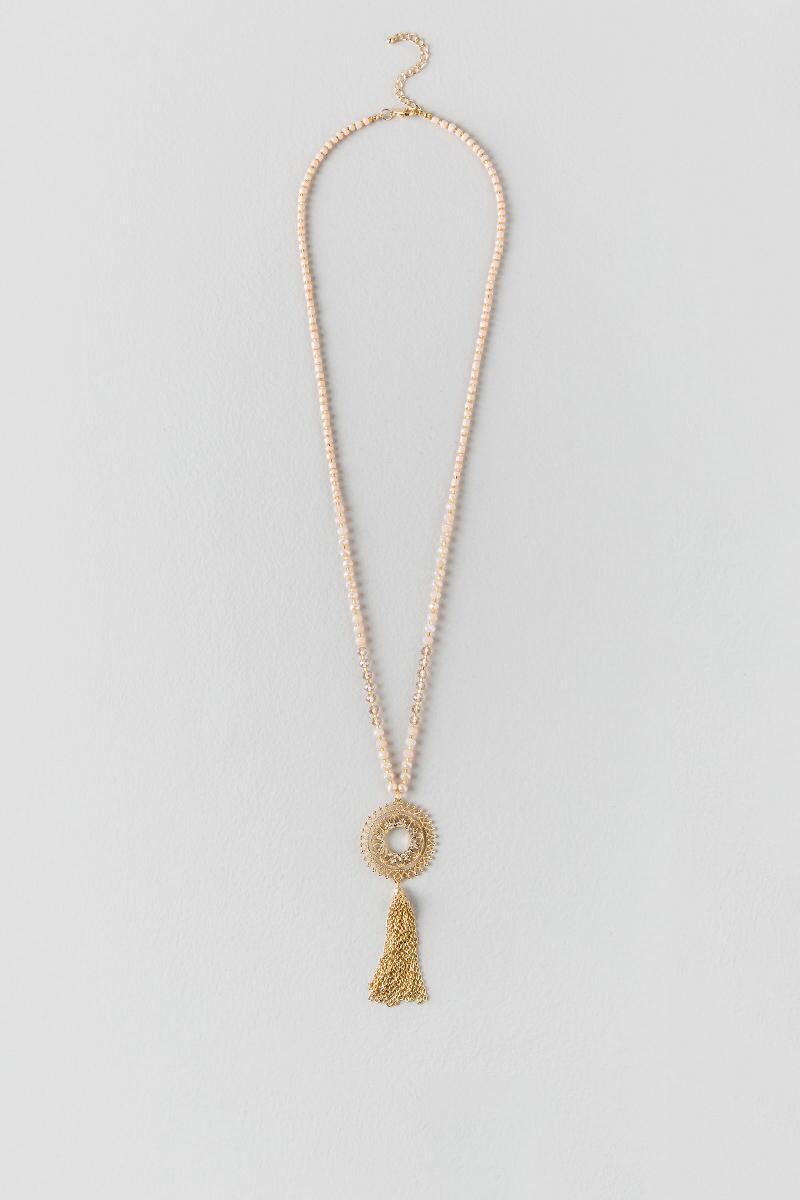 Bella Bead Medallion Tassel Necklace