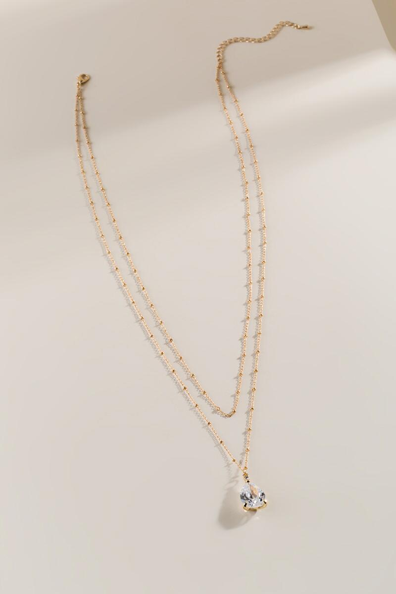 Jestine Crystal Layered Necklace- Gold