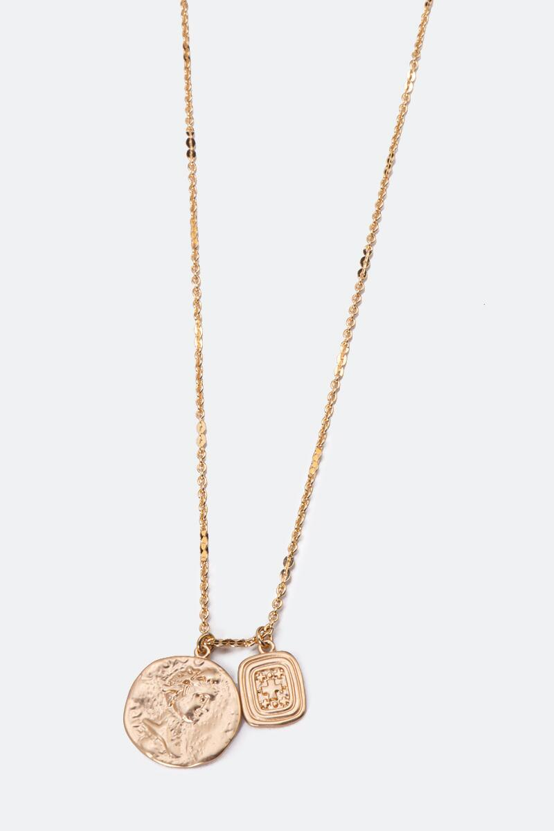 Gwendolyn Coin Drop Pendant Necklace-  gold-cl