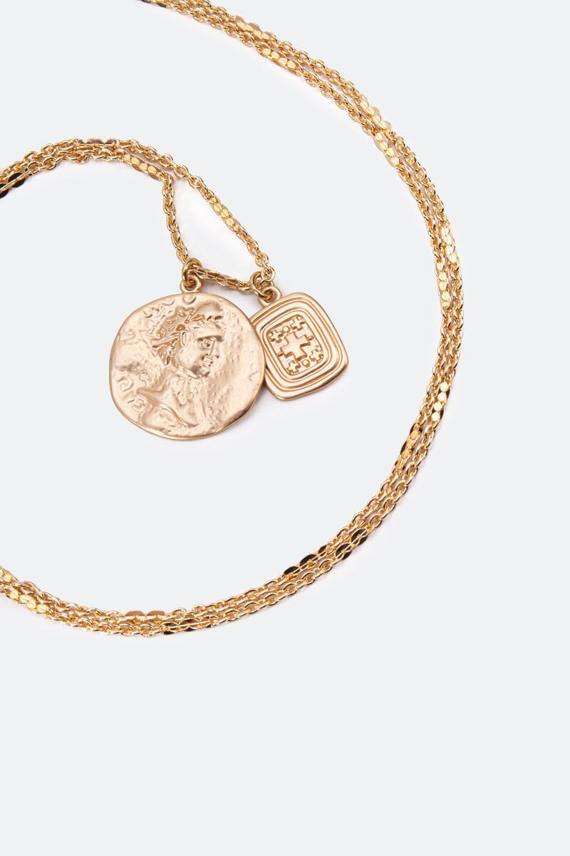 Gwendolyn Coin Drop Pendant Necklace-  gold-cl3