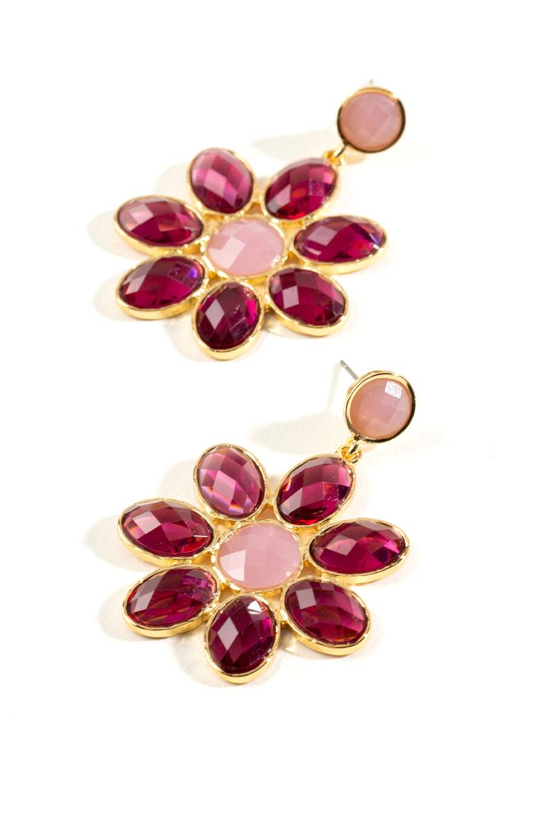 Alessandra Floral Statement Earrings- Burgundy 2