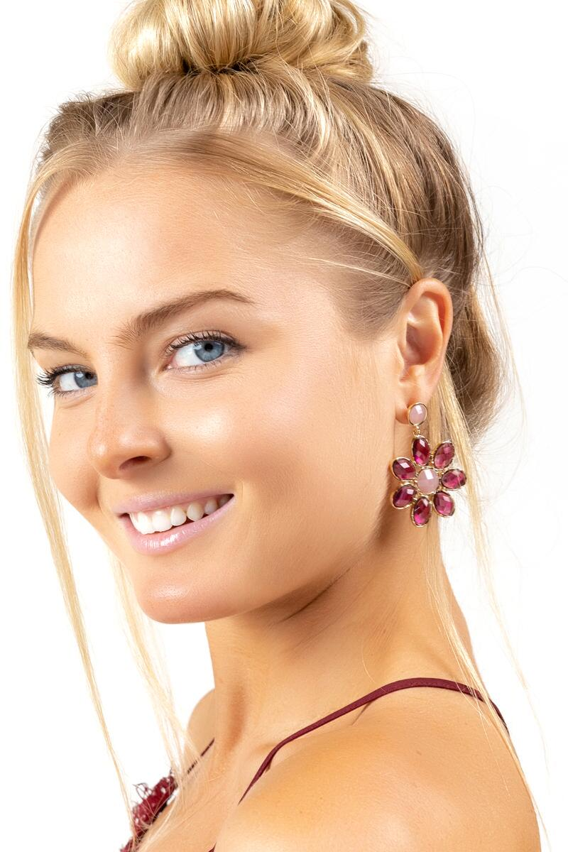 Alessandra Floral Statement Earrings- Burgundy 3