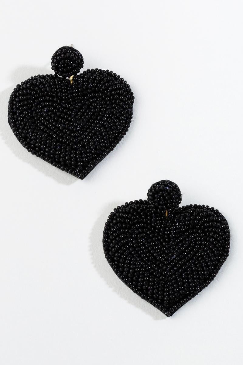 Kiara Beaded Heart Earrings in Black- Black