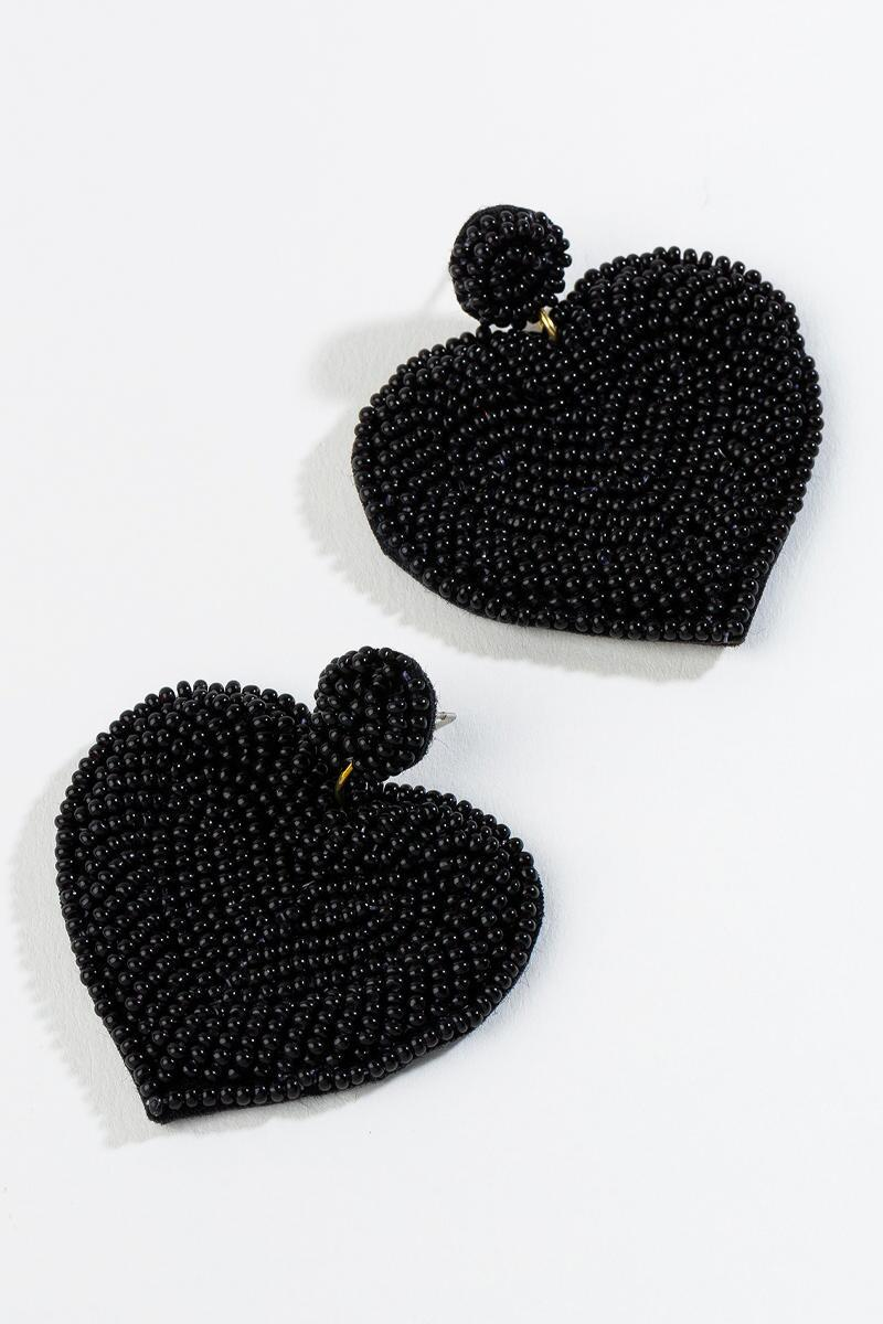 Kiara Beaded Heart Earrings in Black- Black 3