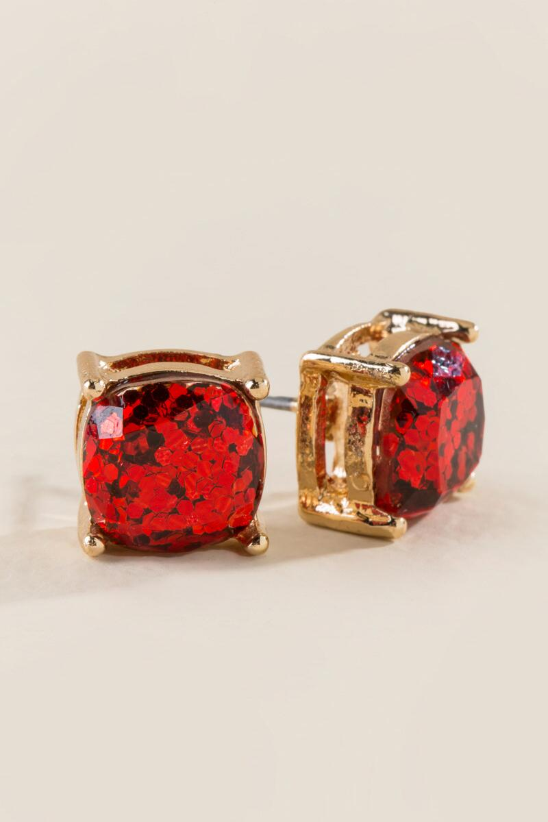 Adelina Glitter Square Stud Earring In Red-  red-clalternate
