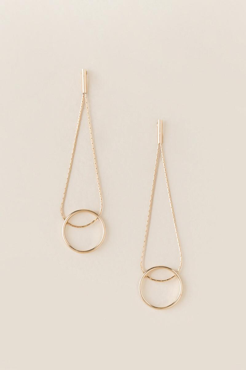 Mya Linear Circle Drop Earring