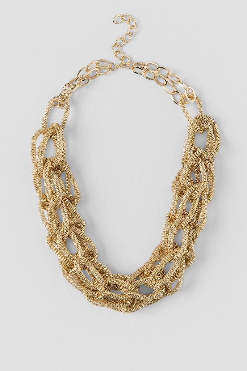 Elysium Mesh Braided Statement Necklace-  gold-cl