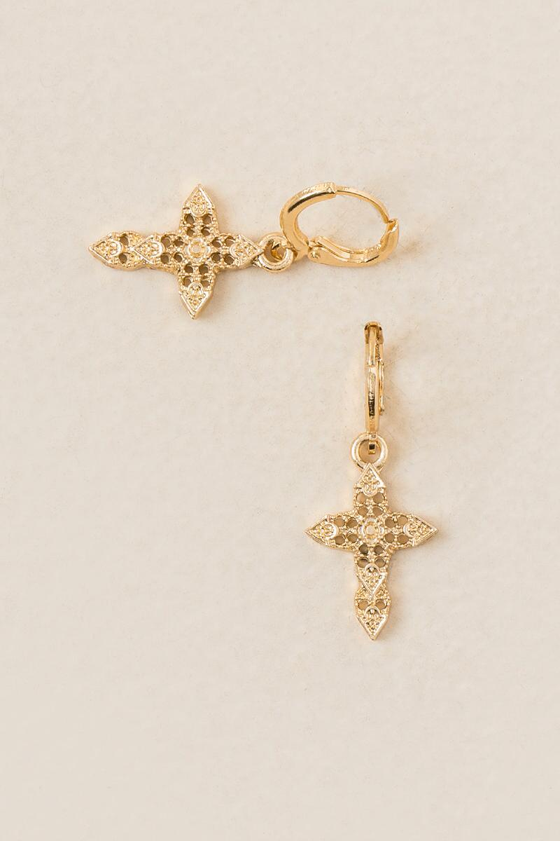 Cross Filigree Drop Earrings-  gold-cl