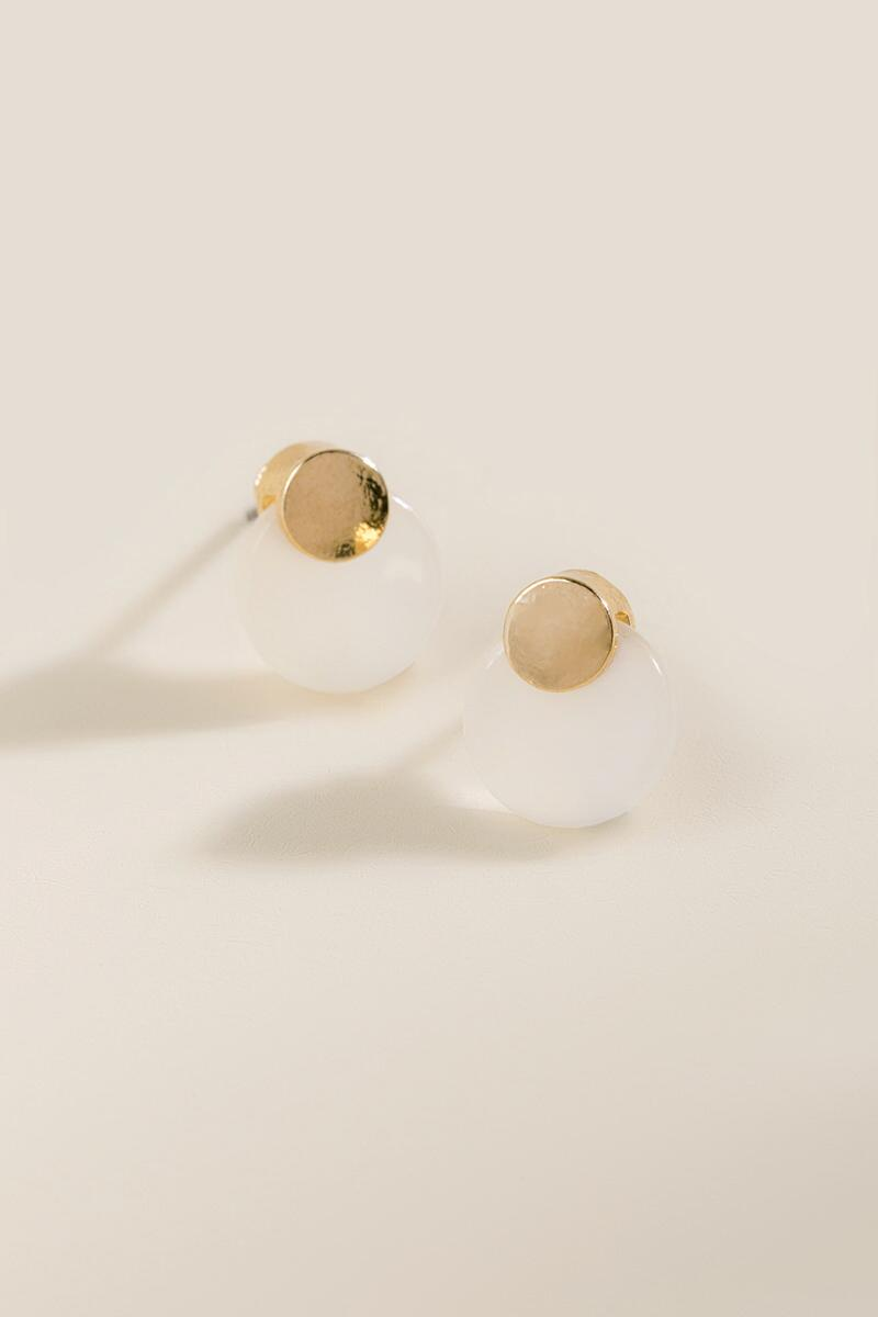 Alianna Circle Gold Post Earrings-  white-cl