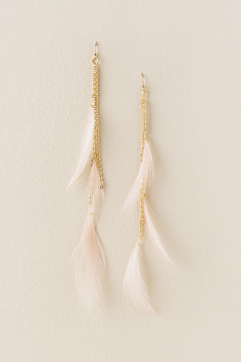 Mallory Feather Duster Earrings-  blush-cl