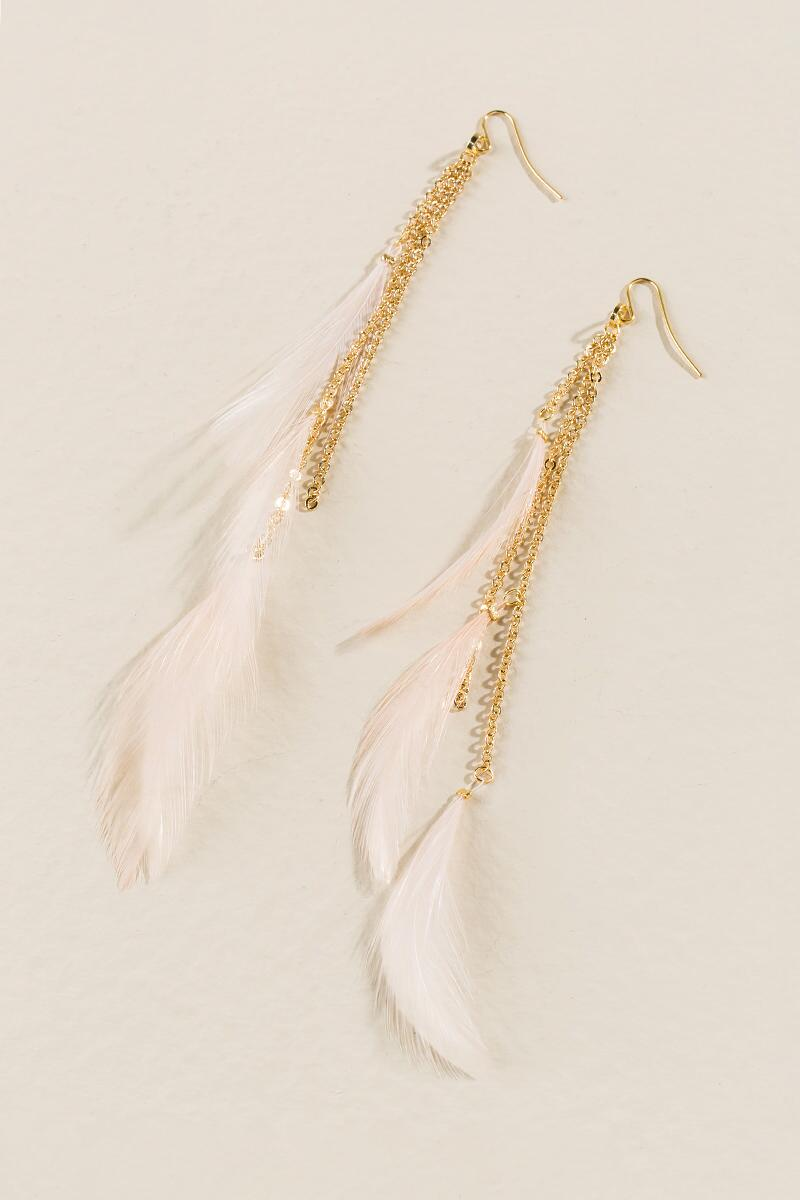Mallory Feather Duster Earrings-  blush-clalternate