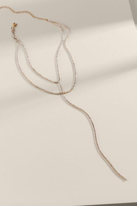 Jinger Crystal Layered Y Necklace