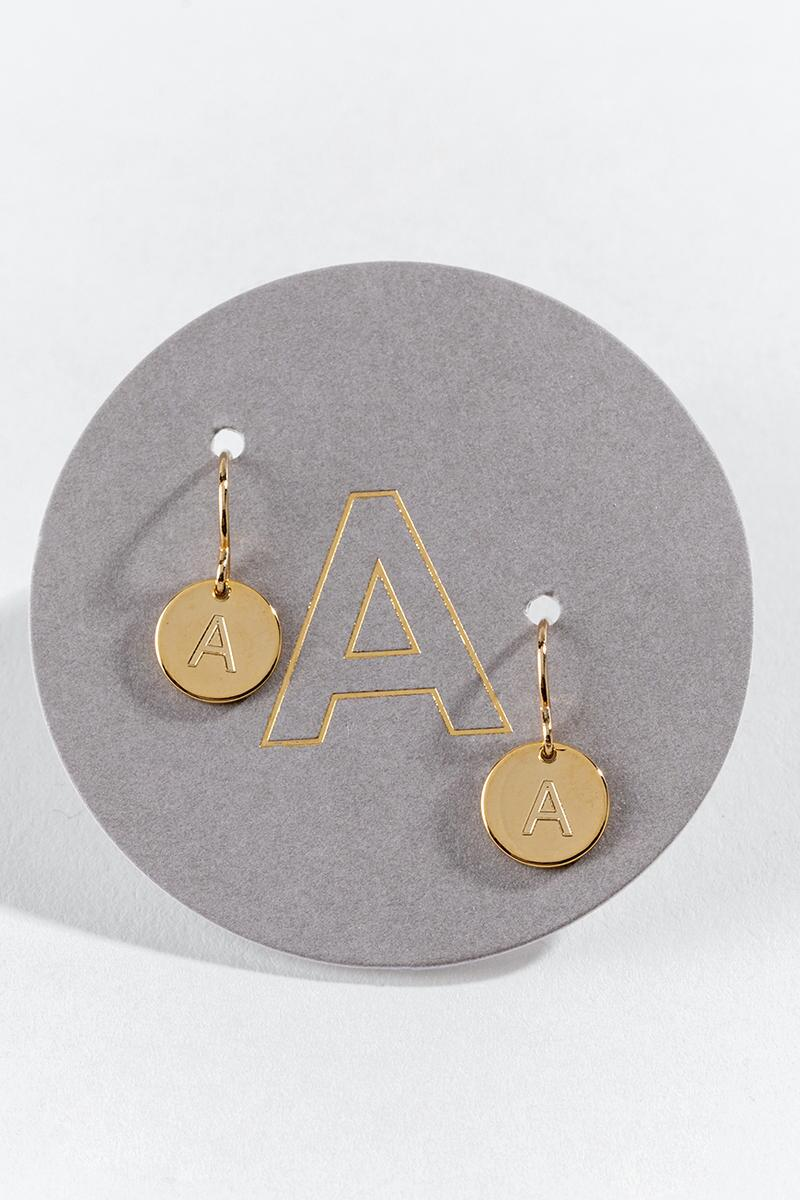 """A"" Circle Drop Earrings-  gold-cl"