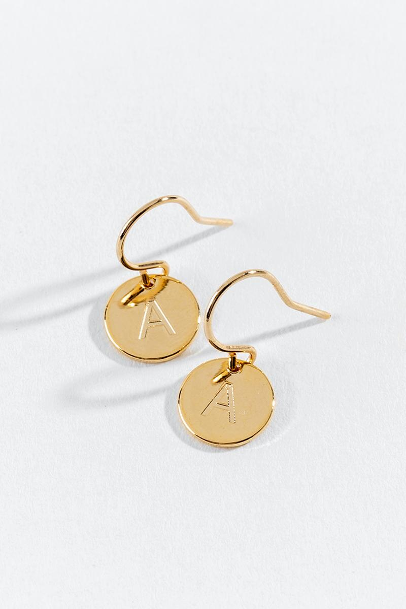 """A"" Circle Drop Earrings-  gold-cl3"