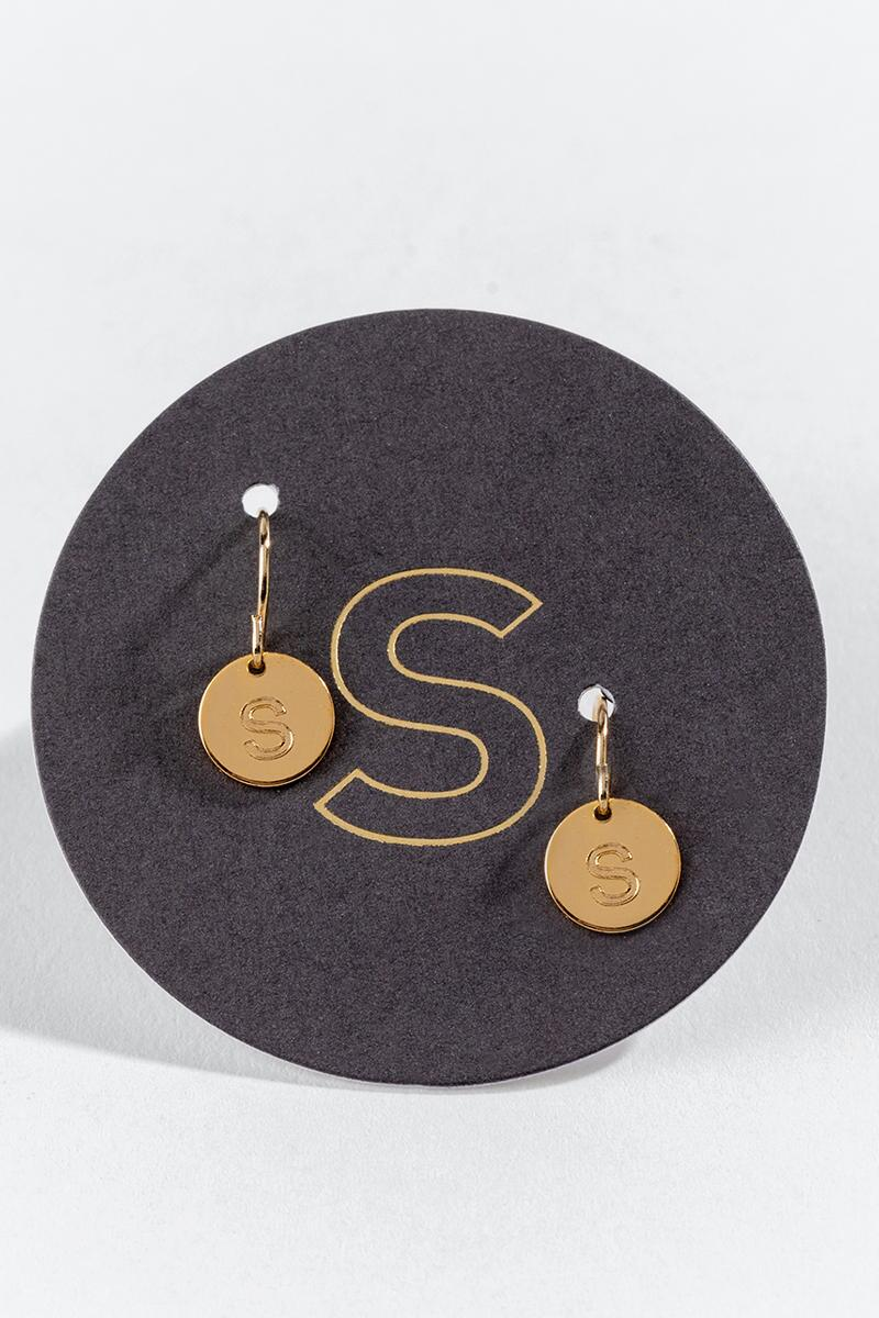 """S"" Circle Drop Earrings-  gold-cl"