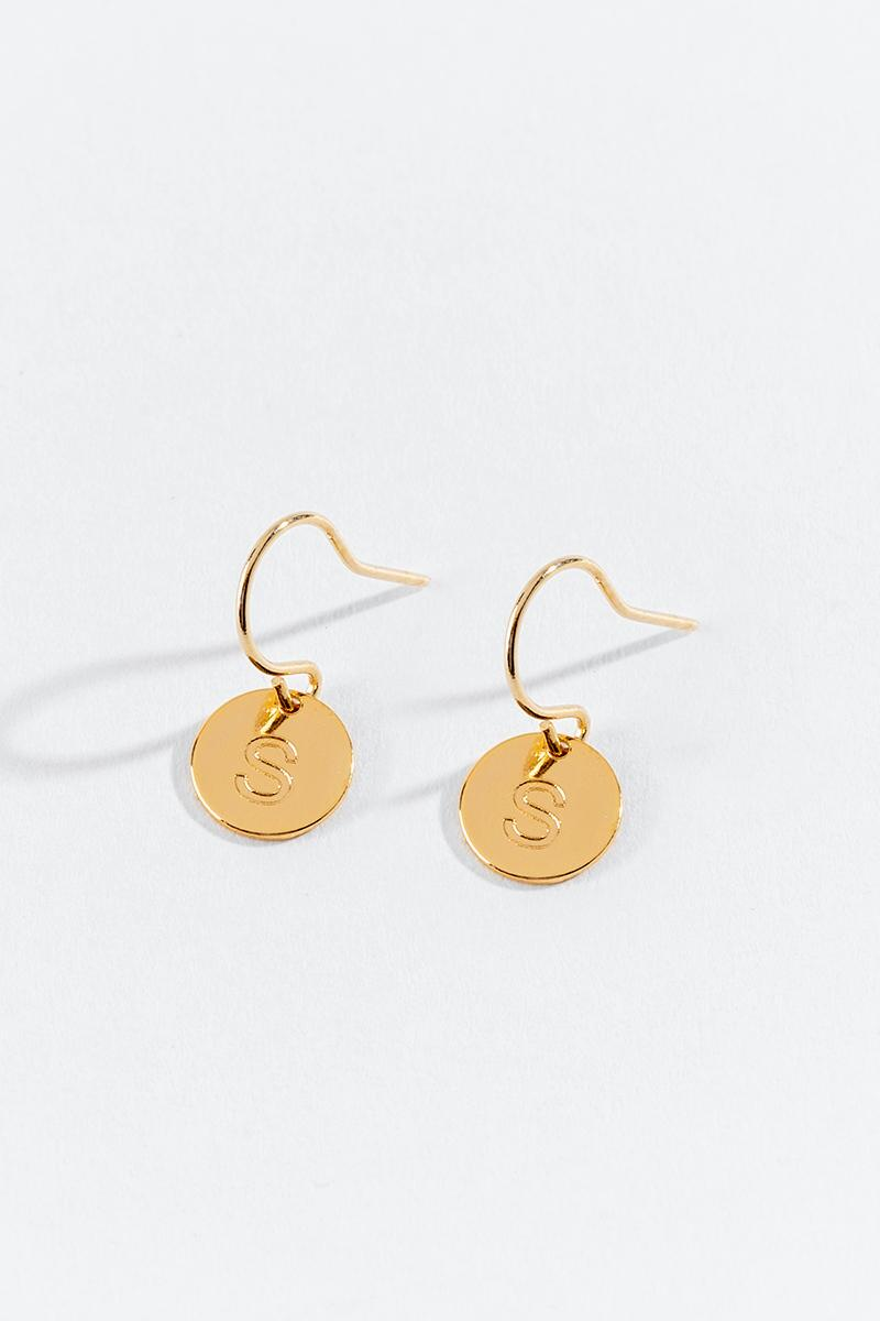 """S"" Circle Drop Earrings-  gold-cl3"