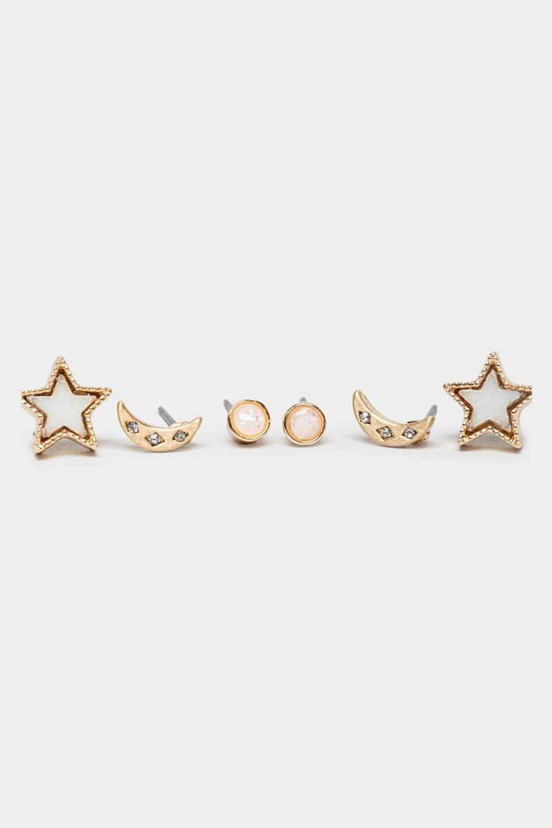 Tessa Celestial Shell Stud Set-Gold