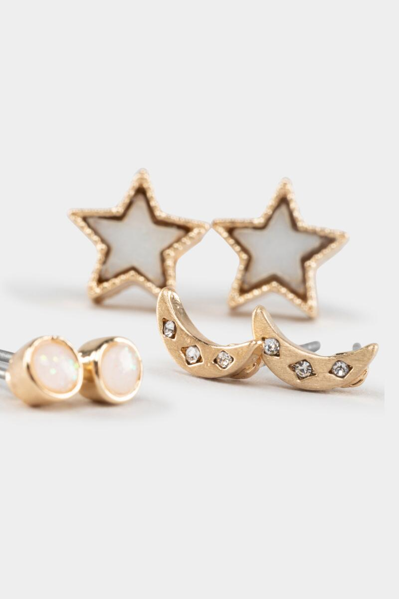Tessa Celestial Shell Stud Set-Gold 3