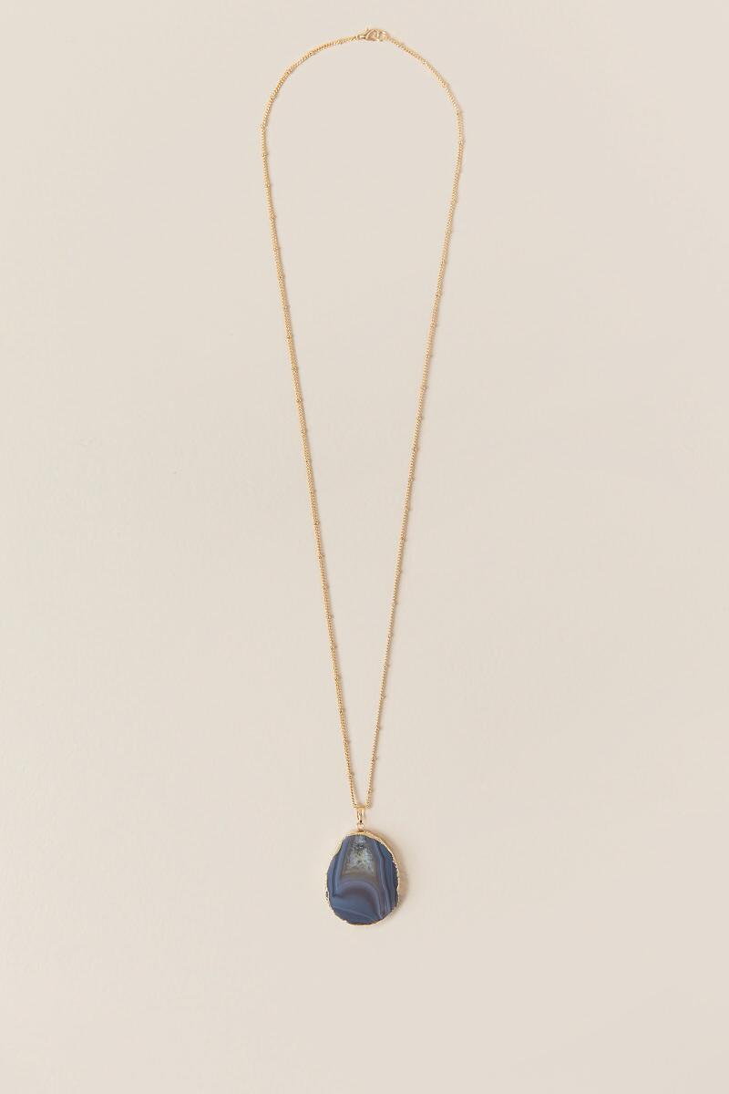 Vesper Agate Pendant Necklace-  purp-cl