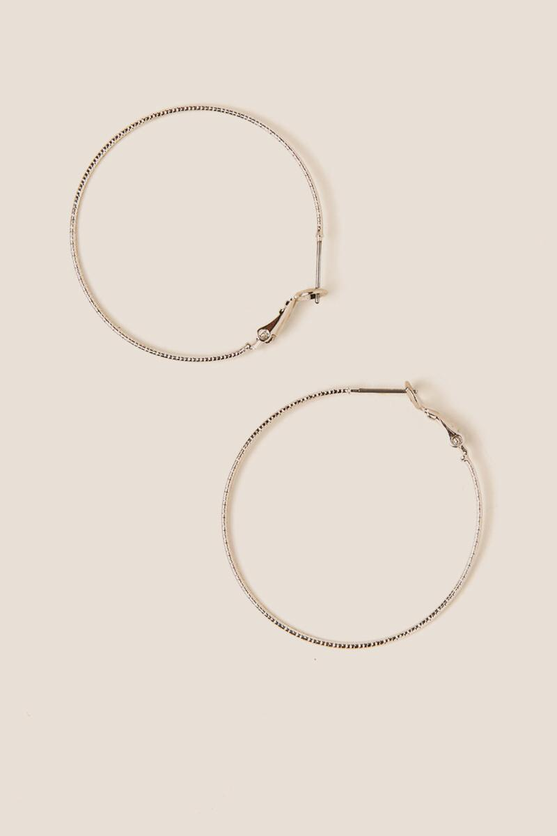 Madison Textured Hoops In Silver
