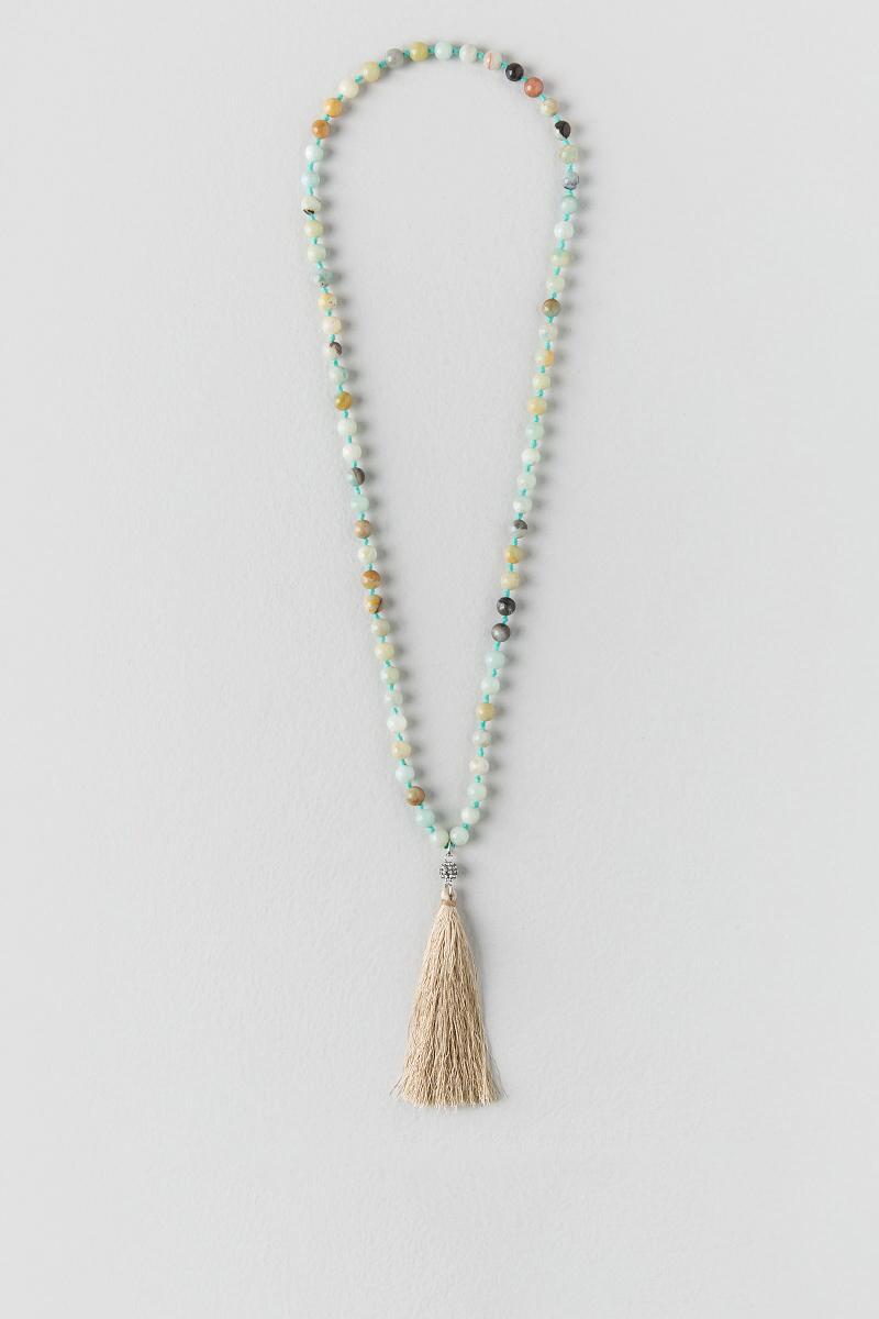 Gael Beaded Tassel Pendant-  mint-cl