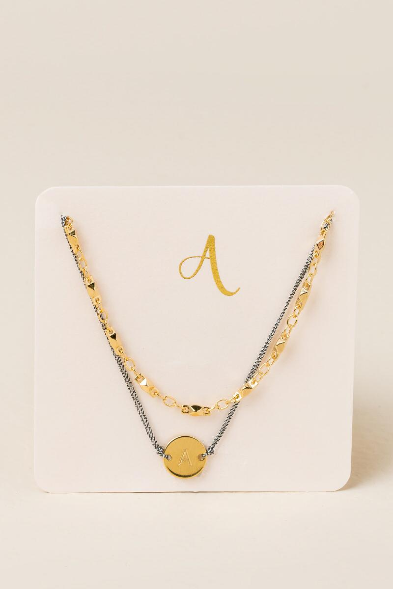 A Initial Coin Pull Tie Bracelet-  gold-cl