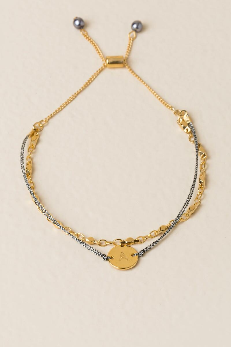 A Initial Coin Pull Tie Bracelet-  gold-clalternate