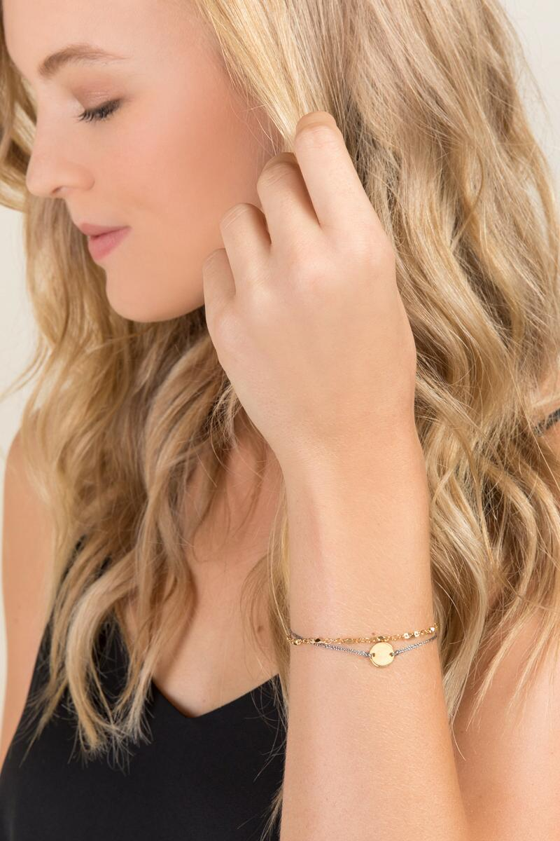 A Initial Coin Pull Tie Bracelet-  gold-clmodel