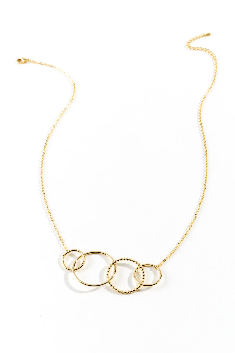 Melina Circle Statement Necklace- Gold