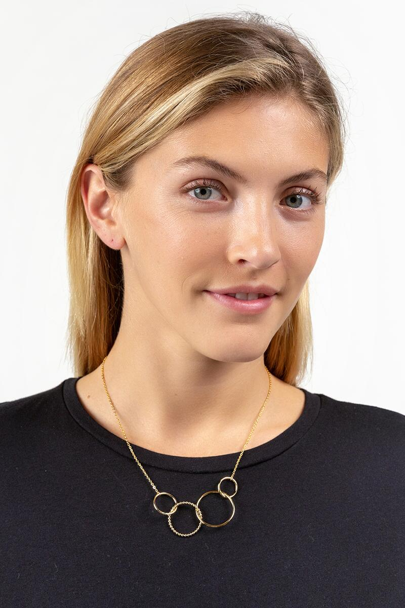 Melina Circle Statement Necklace- Gold 3