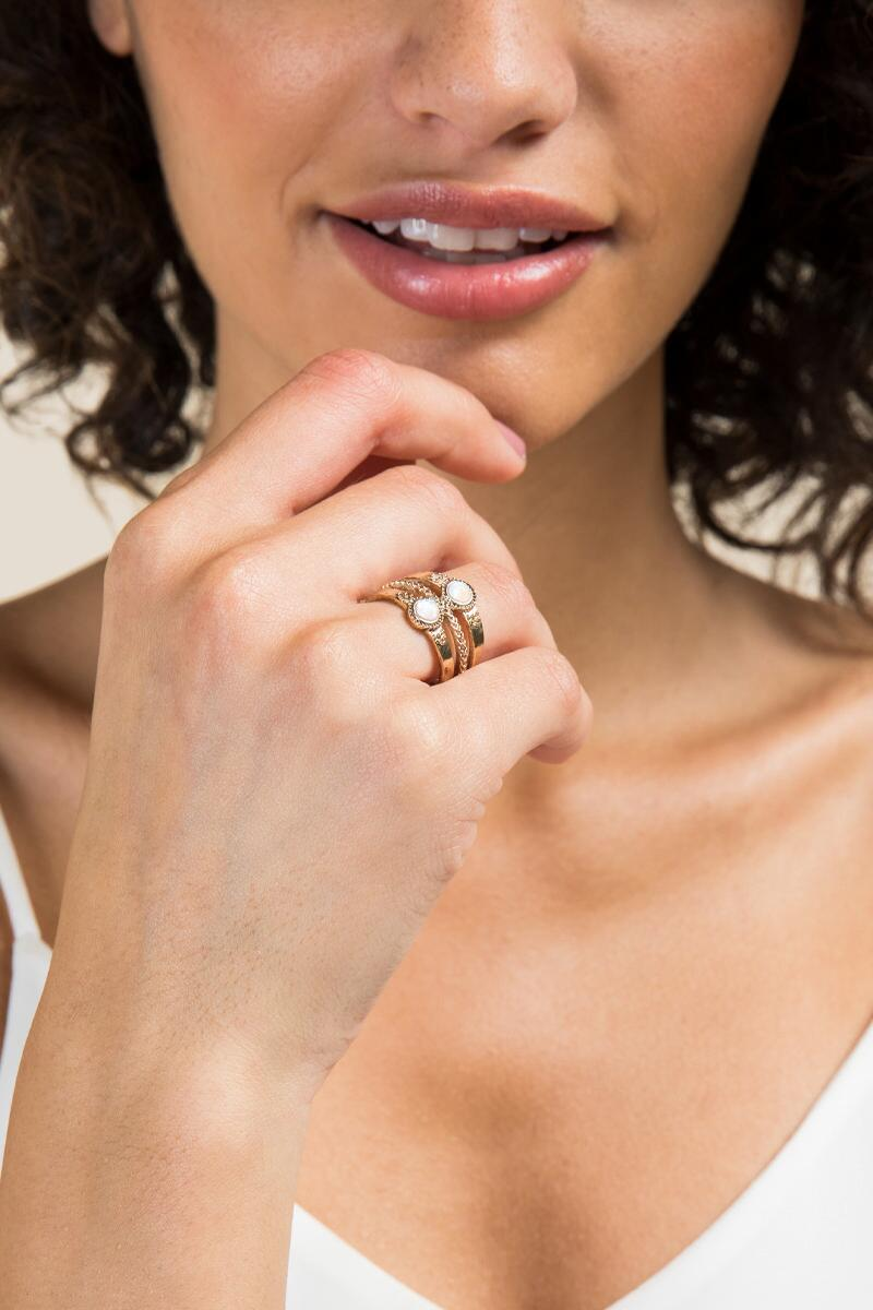 Heather Opal Antique Ring-  gold-clmodel