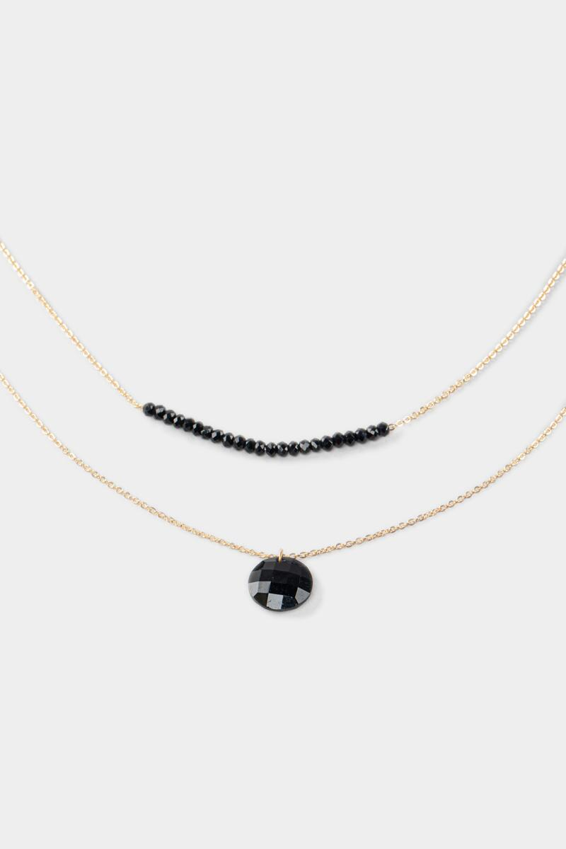 Wendy Beaded Layer Necklace- Black