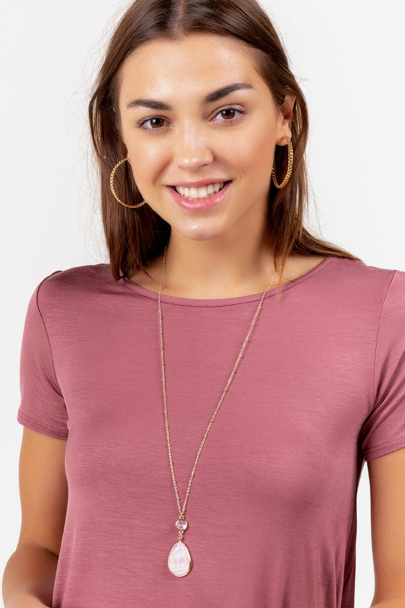 Everly Teardrop Pendant Necklace in Pink- Blush 2