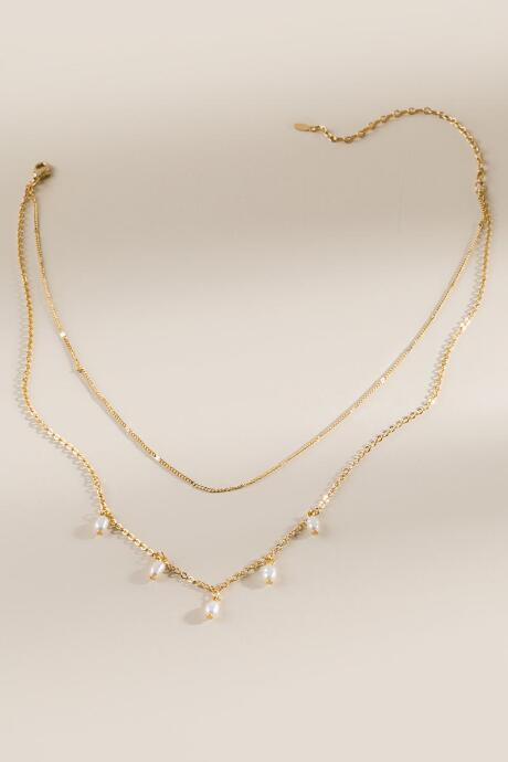 Fiona Double Layer Pear Drop Necklace