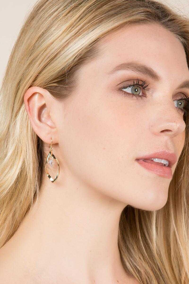 Anna Cubic Zirconia Drop Earring-  cry-clmodel