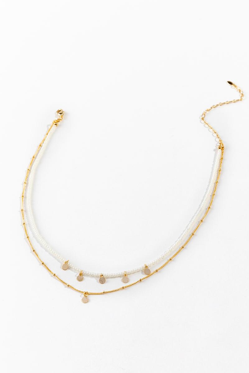 Arin Layered Choker in White