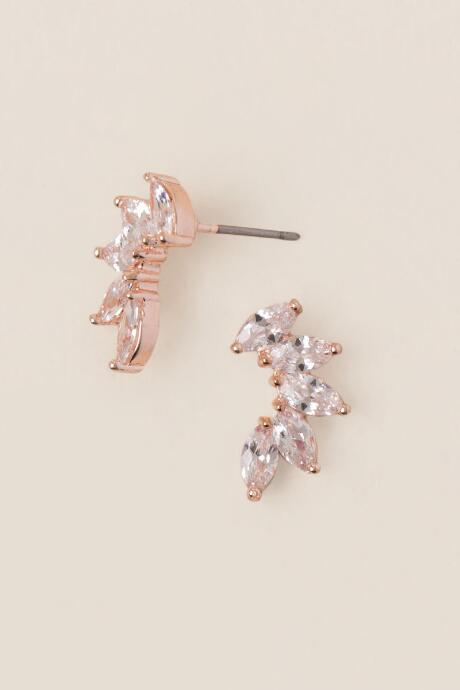 Cassia Cubic Zirconia Stud Earrings In Rose Gold