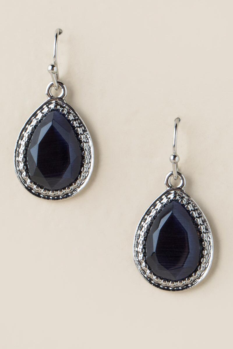 Adelyn Cateye Teardrop Earrings-  navy-cl