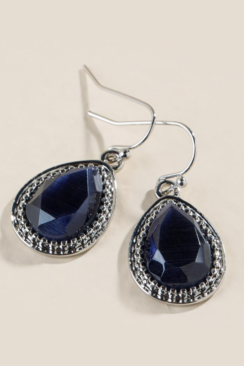 Adelyn Cateye Teardrop Earrings-  navy-clalternate