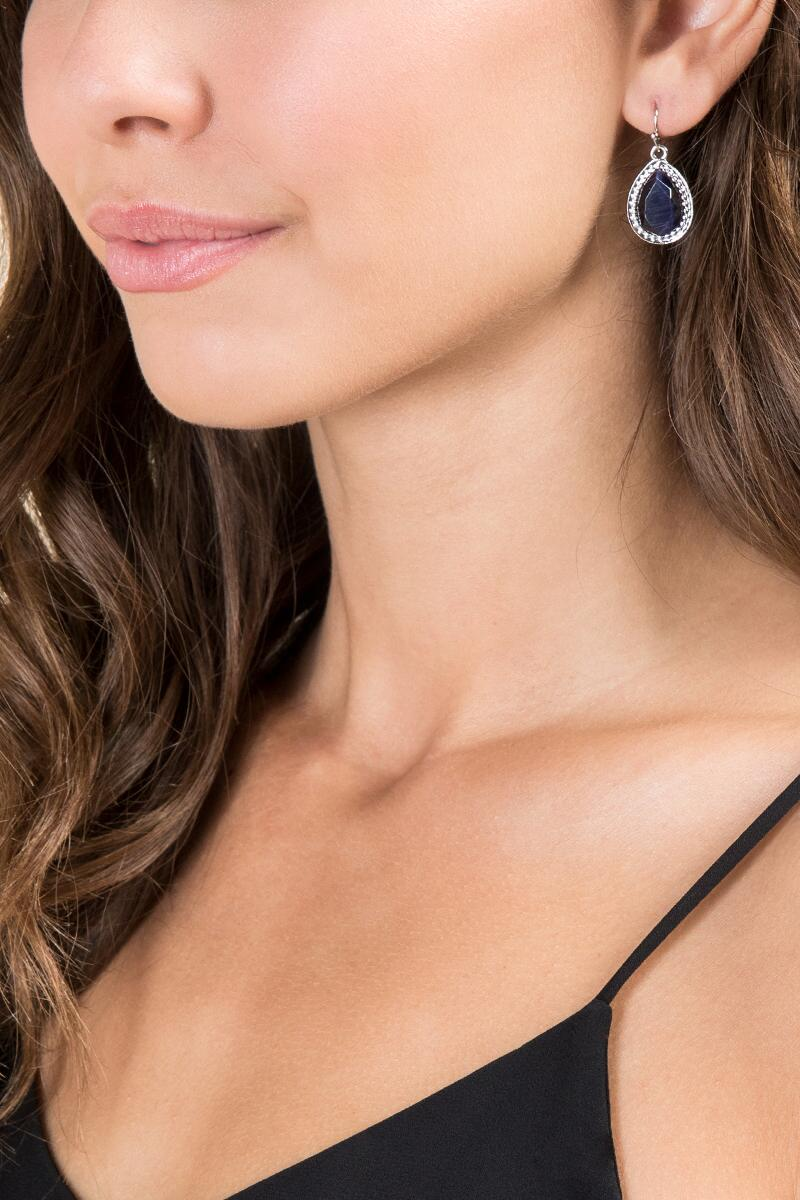 Adelyn Cateye Teardrop Earrings-  navy-clmodel