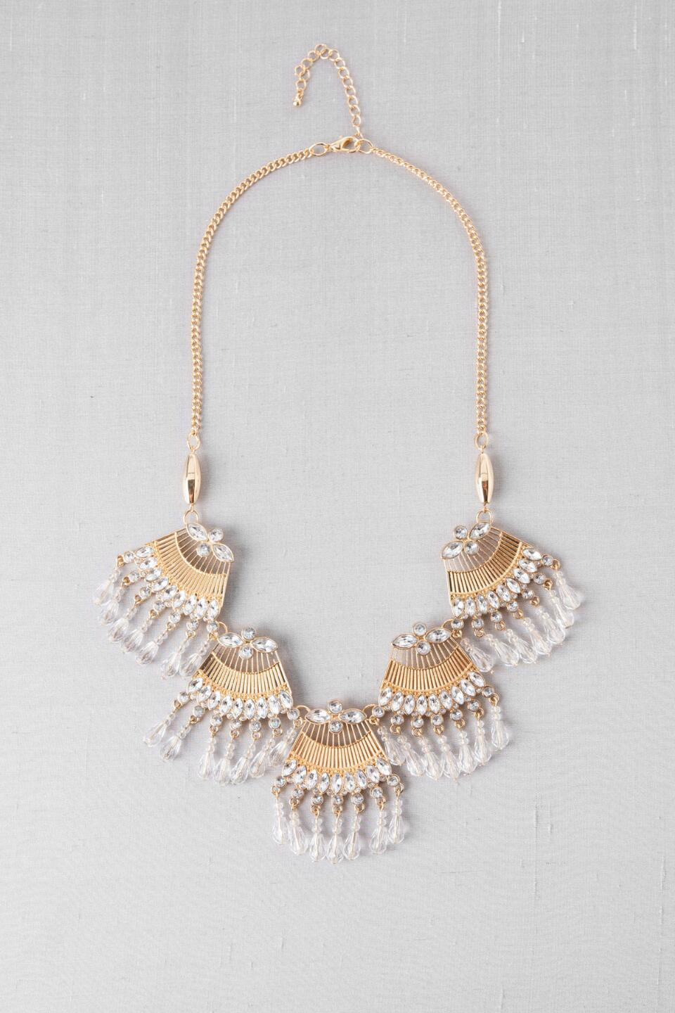 Carmona Crystal Fringe Necklace-  clr-cl